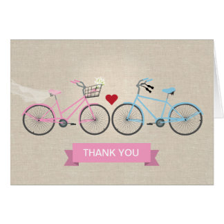 Two Bicycles Wedding Pink Thank You Stationery Note Card
