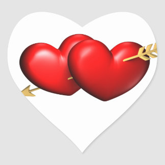 Two big and chubby hearts with a golden arrow heart sticker