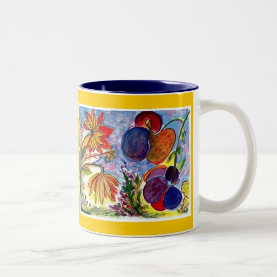 Two big blue and orange flower mug