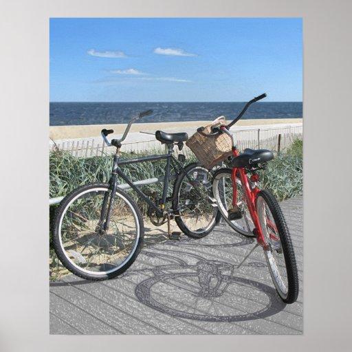 Two bikes on boardwalk Jersey Shore Print