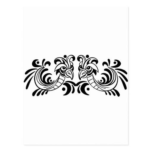 Two Bird Black and White Design Postcard