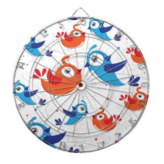 Two Bird Lovers Orange and Blue  Pattern Dart Boards