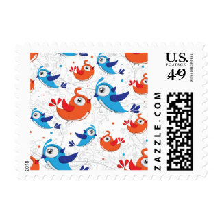 Two Bird Lovers Orange and Blue  Pattern Postage
