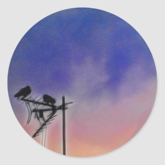 Two Birds at Sunset Classic Round Sticker