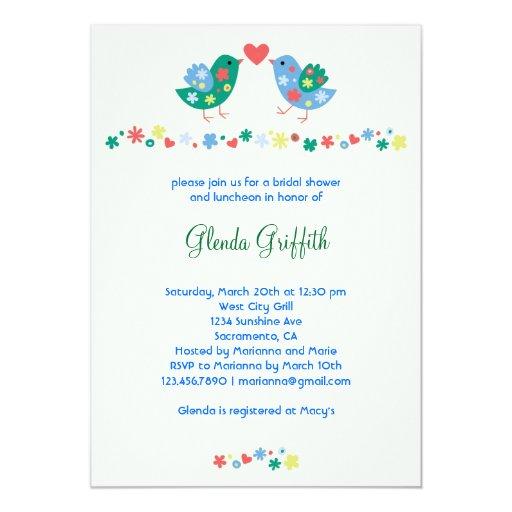 "Two Birds Bridal Shower Invitation 5"" X 7"" Invitation Card"