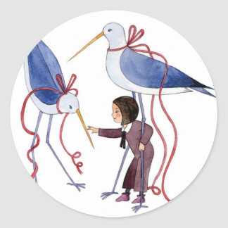 Two birds classic round sticker