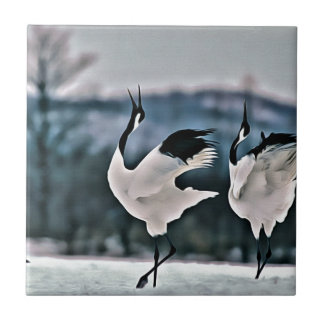Two Birds Dancing Small Square Tile