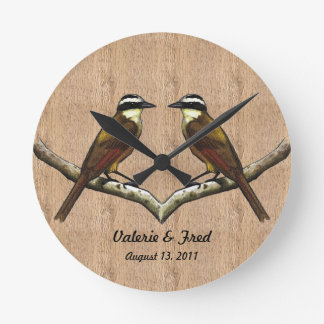 Two Birds Face to Face: Wood Background, Art Round Clock