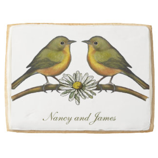Two Birds Facing Each Other, Daisy: Couple Jumbo Shortbread Cookie