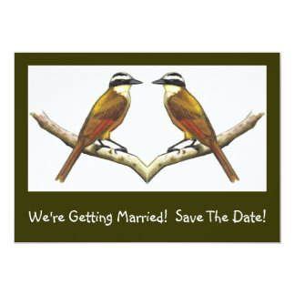Two Birds Facing: Getting Married: Save the Date! 5x7 Paper Invitation Card