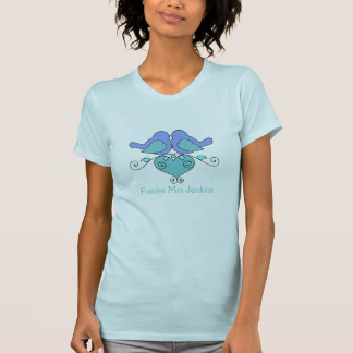 Two Birds Floral Heart Teal Blue Wedding Party T-Shirt