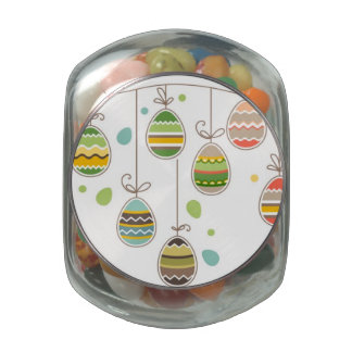 Two Birds Hold Rope with Easter Eggs Jelly Belly Candy Jar