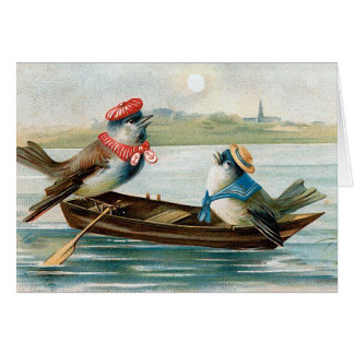 """""""Two Birds in a Boat"""" Greeting Cards"""