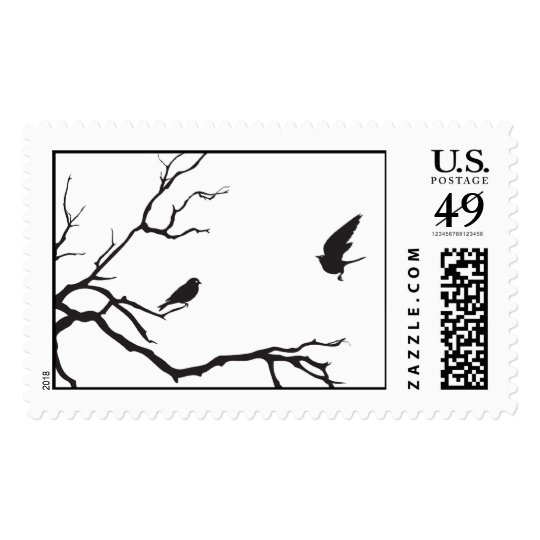 Two birds in a tree postage
