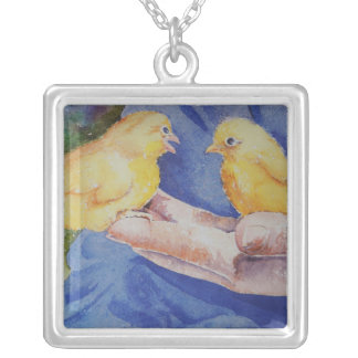 Two Birds in Hand Square Pendant Necklace