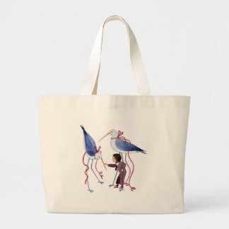 Two birds large tote bag
