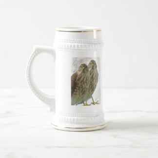 Two Birds of Prey Enhanced nature animal photo Beer Stein