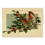 Two birds on a Holly branch Greeting Card
