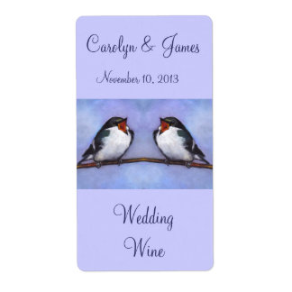 Two Birds On Branch: Wedding Wine: Oil Pastel Art Label
