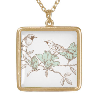 Two birds on celestial flowers, Engraving Square Pendant Necklace
