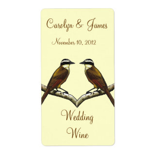 Two Birds On Snowy Branch: Wedding Wine: Art Label