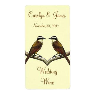 Two Birds On Snowy Branch: Wedding Wine: Art Label