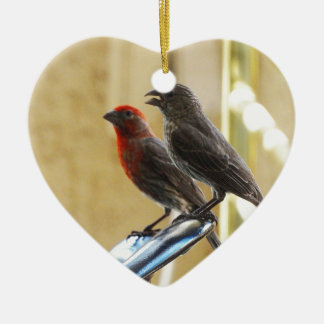 Two birds One looks like he's talking Double-Sided Heart Ceramic Christmas Ornament
