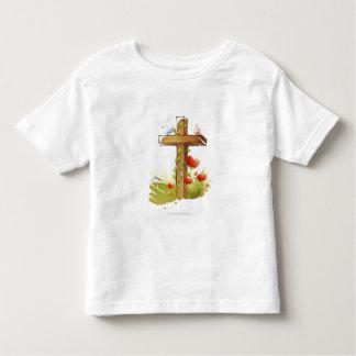 Two birds perching on a cross toddler t-shirt