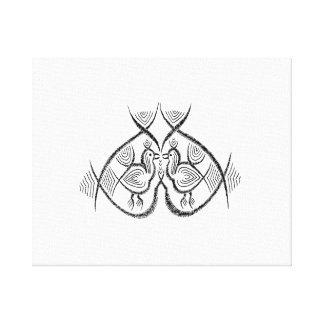 Two birds standing vintage jagged sketch.png canvas print