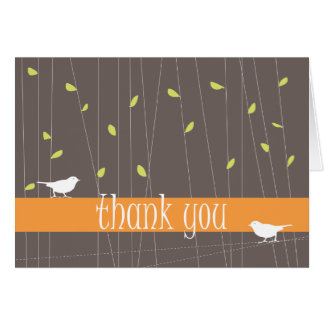 Two Birds Thank You Card: Tangerine Card