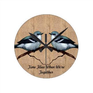 Two Birds: Time Flies When We're Together: Art Wallclock
