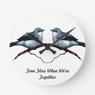 Two Birds: Time Flies When We're Together: Art Round Wall Clock