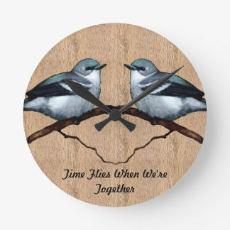 Two Birds: Time Flies When We're Together: Art Round Wallclock