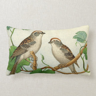 Two Birds Tree Branch/Leaves/Green Lumbar Pillow