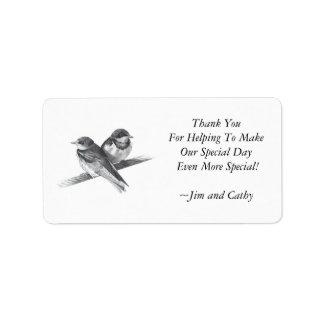 TWO BIRDS: WEDDING THANKYOU LABELS: PENCIL ART ADDRESS LABEL