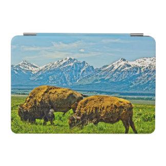 Two bison grazing iPad mini cover