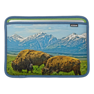 Two bison grazing sleeve for MacBook air