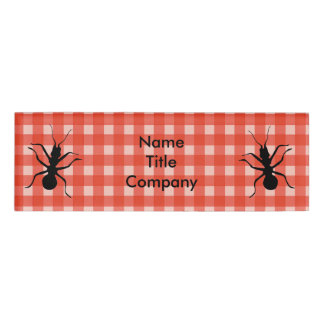 Two Black Ants on Red White Picnic Plaid Name Tag