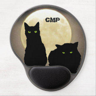 Two Black CatS and The Full Moon Gel Mouse Pad