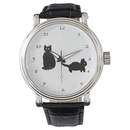 Two Black Cats Art Wrist Watch