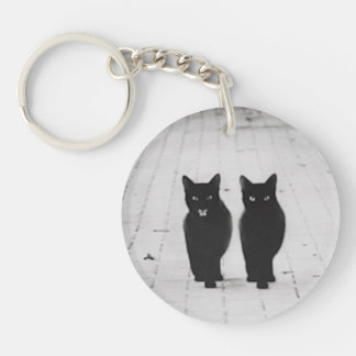 Two Black Cats Gothic Key Ring Keychain