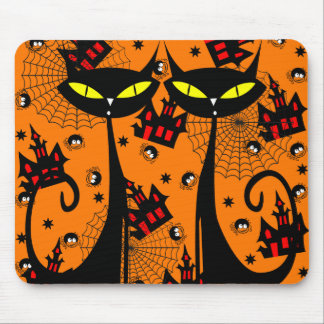 Two Black Cats with Evil Eyes Mouse Pad