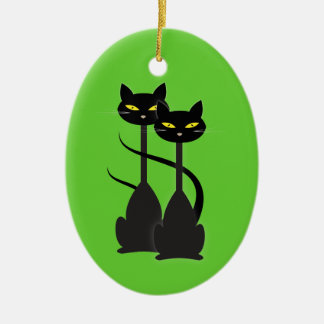 Two Black Cats with Long Necks on Green Ceramic Ornament