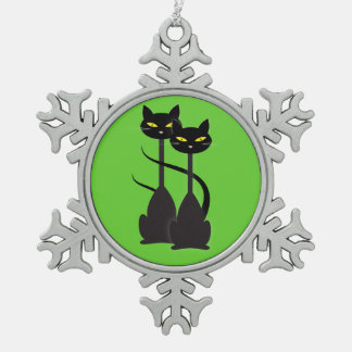 Two Black Cats with Long Necks on Green Snowflake Pewter Christmas Ornament