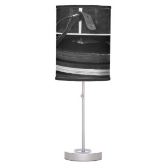 Two black guitar cases in bw table lamp