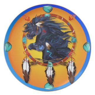 Two Black Horses Mandala Melamine Plate