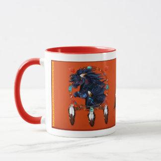 Two Black Horses Mandala Mug