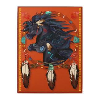 Two Black Horses Mandala Poster