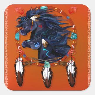 Two Black Horses Mandala Square Sticker