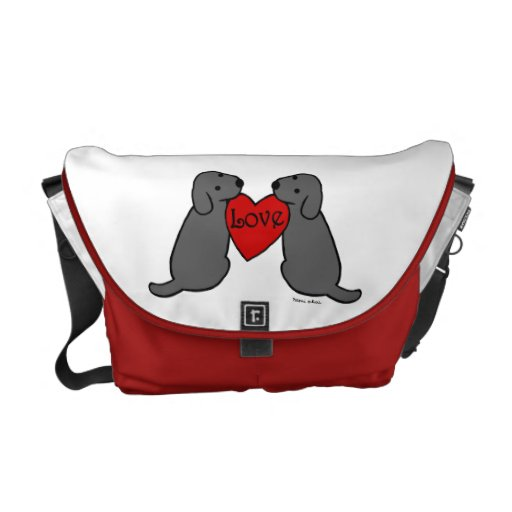 Two Black Labradors with Love Cartoon Courier Bag
